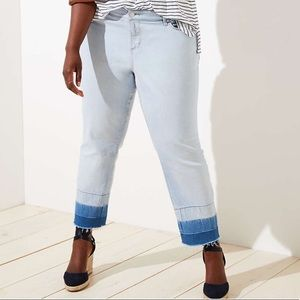 Double Unpicked Straight Crop Jeans